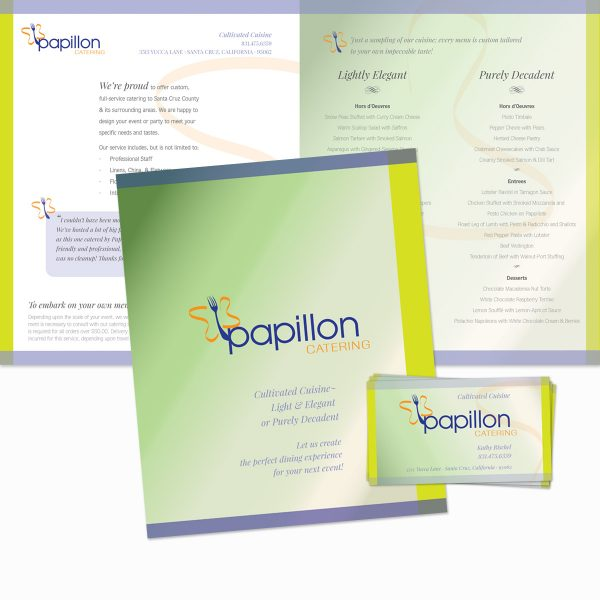 Papillon Catering menu and business cards