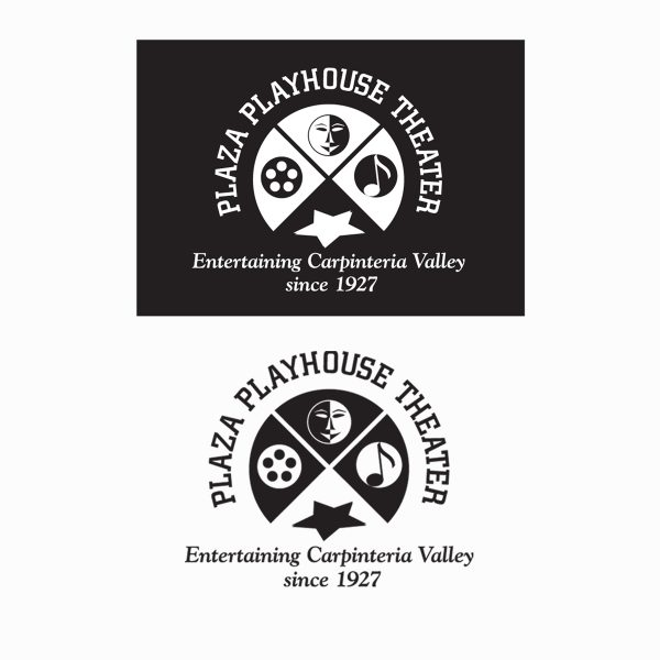Plaza Playhouse Theater logo submission in black and white variations