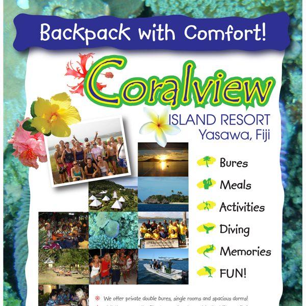 Coralview Resort promotional signboard, close-up