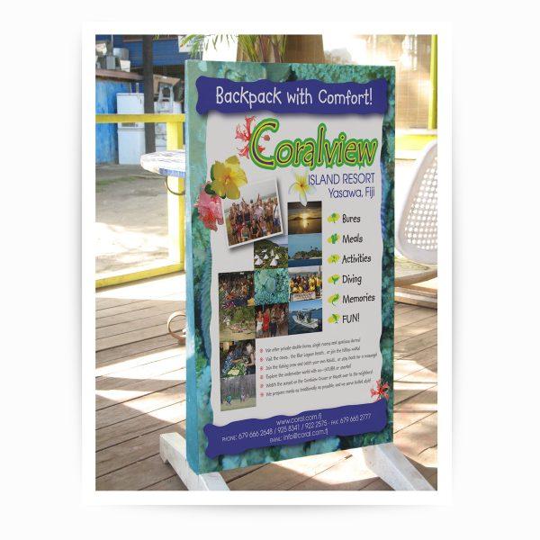 Coralview Resort signboard in Fiji