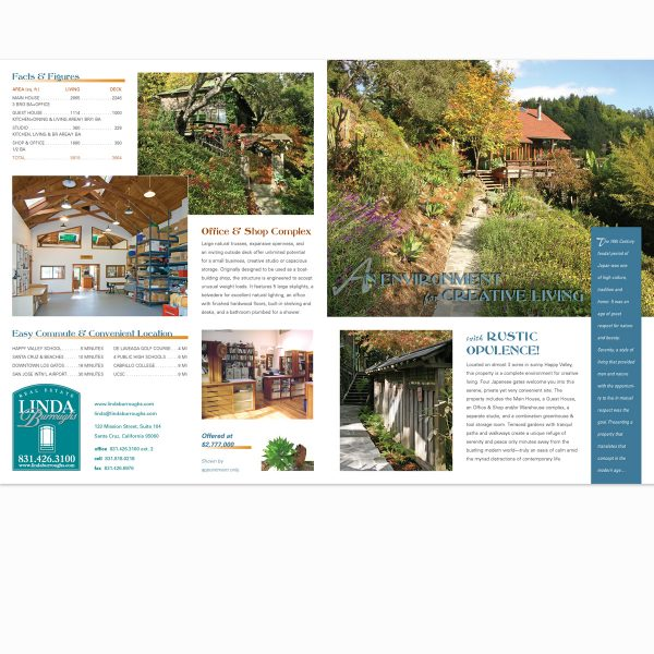 Real estate promo brochure cover and back page spread