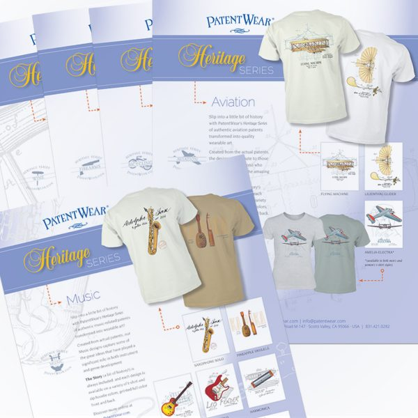Some of the more than 20 Heritage Series sales sheets designed for PatentWear
