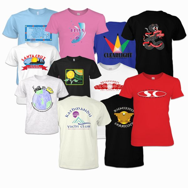 An assortment of screen-printed t-shirt art that I have designed and/or produced over many years for various clients, including schools, teams, non-profits, clubs, and commercial enterprises.