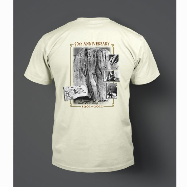T-shirt design for the 50th Anniversary celebration commemorating the first climbing ascent of El Capitan in Yosemite National Park. The design featured photos by Tom Frost, well-known photographer and member of the original team.