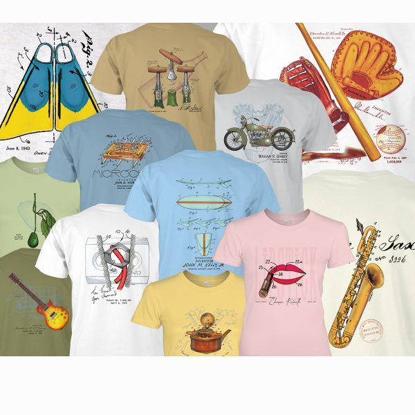 Some of the more than 100 designs created for e-commerce company, PatentWear, which specializes in historical patent art and the stories behind it.
