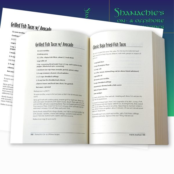 The Shanachie recipe book's interior page layout