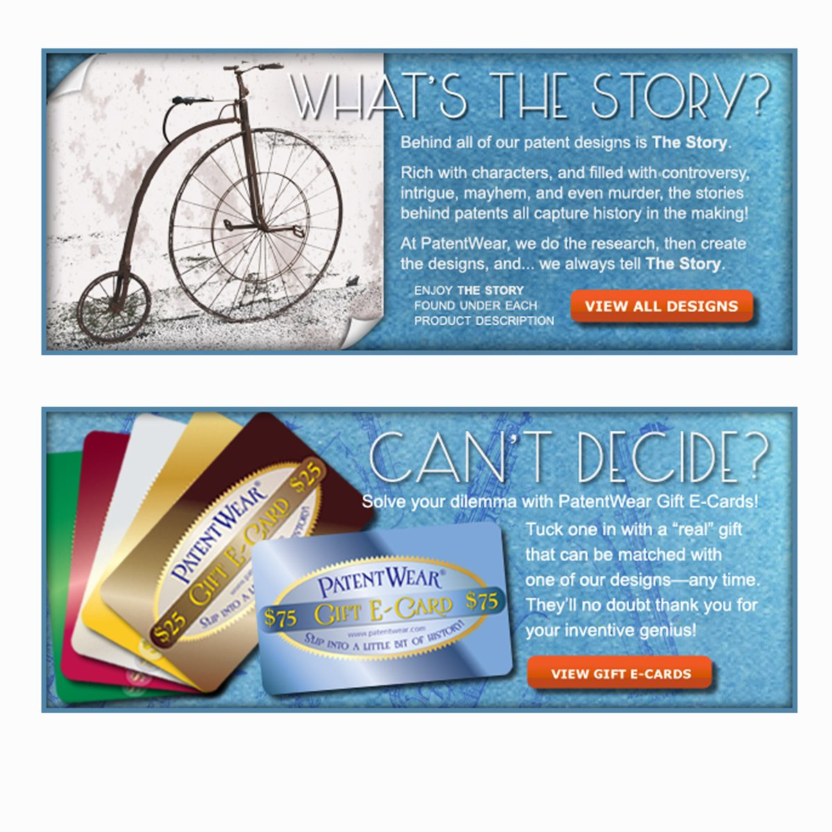Website banners for PatentWear.com