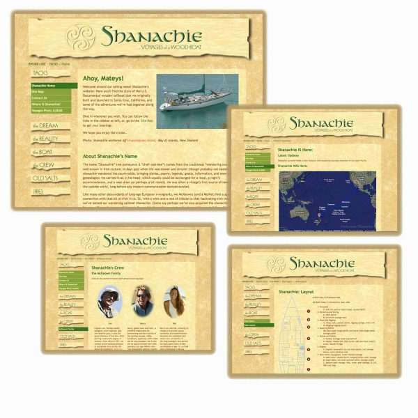 Screenshots of pages from the Shanachie Voyages website