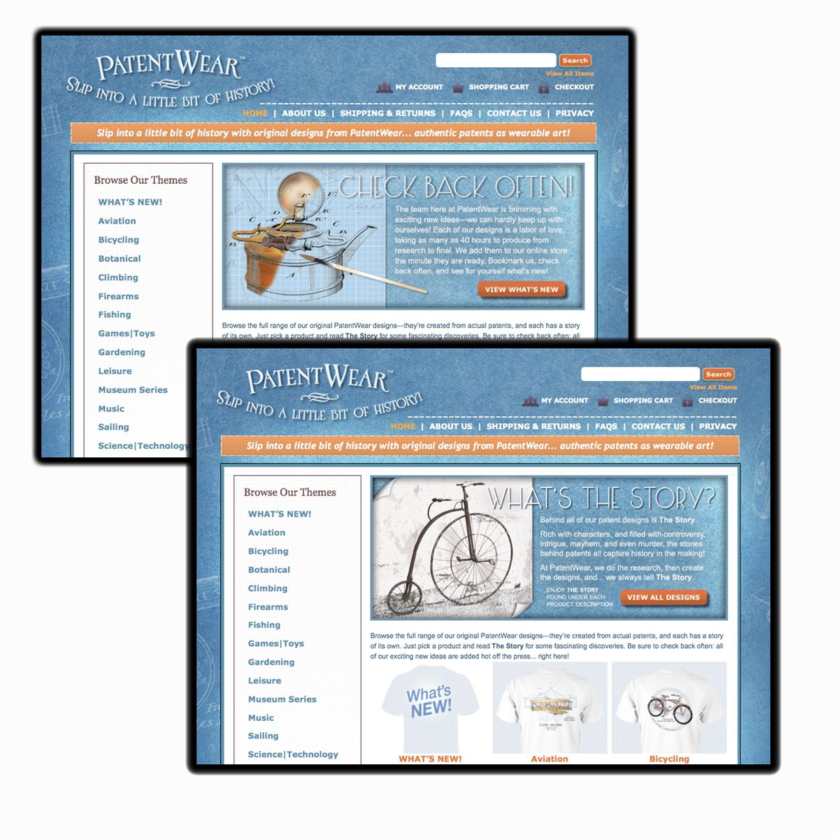 Web banners in position on PatentWear.com website