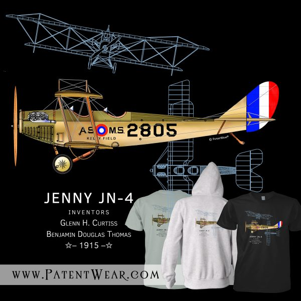 PatentWear's Jenny JN-4 t-shirt and zip hoodie design