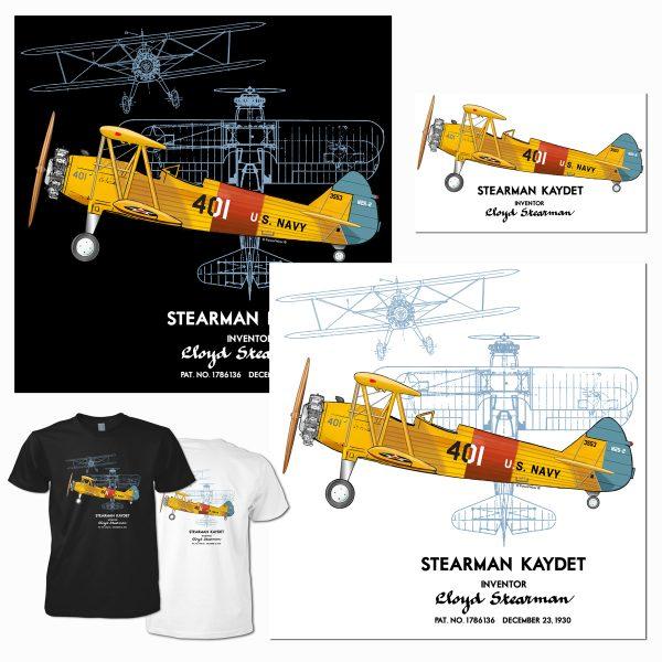 Stearman Kaydet design for PatentWear's Aviation category