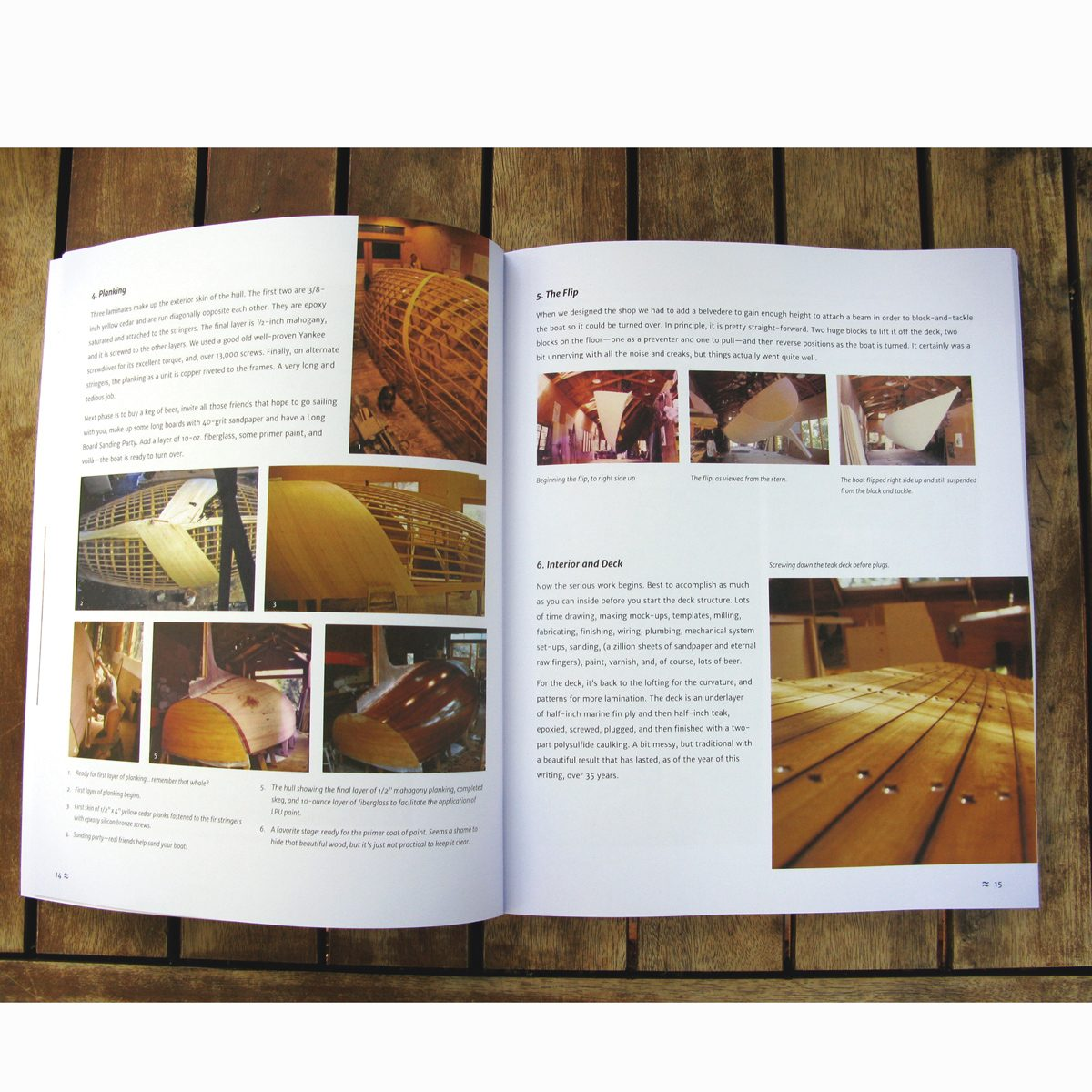 Shanachie: A Wooden Boat Story open to a page spread on construction