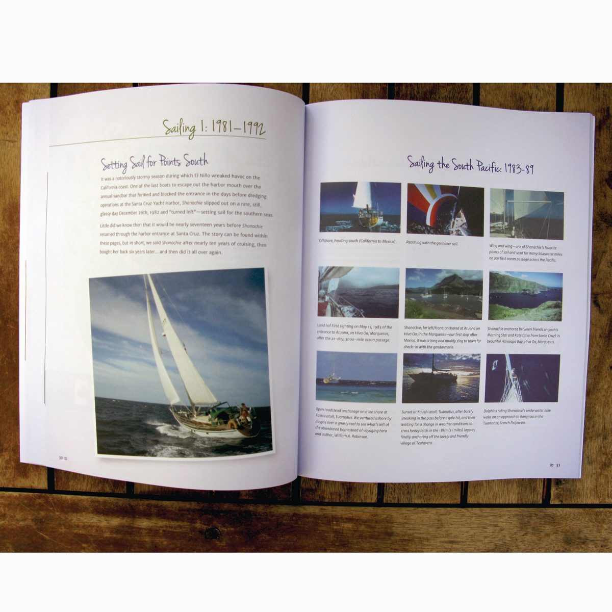 Shanachie: A Wooden Boat Story open to a page spread on sailing in the South Pacific