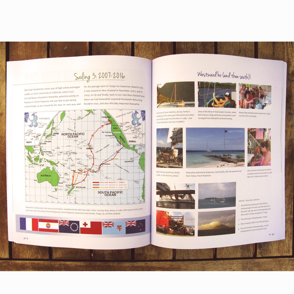 Shanachie: A Wooden Boat Story open to a page spread on sailing routes in the South Pacific