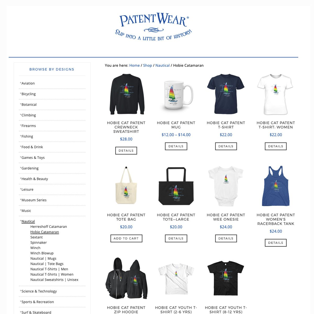 A PatentWear design category page of available products