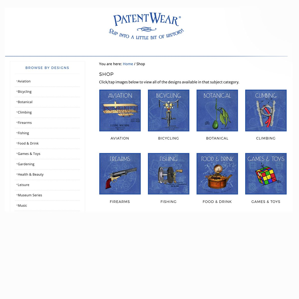 Partial view of the PatentWear Shop page