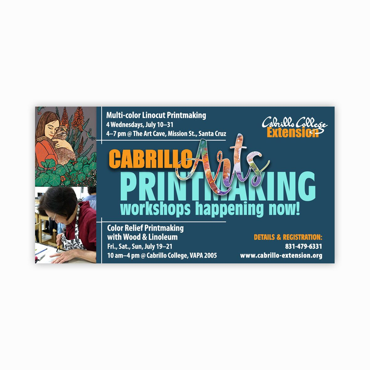 Printmaking class promotional ad for Facebook