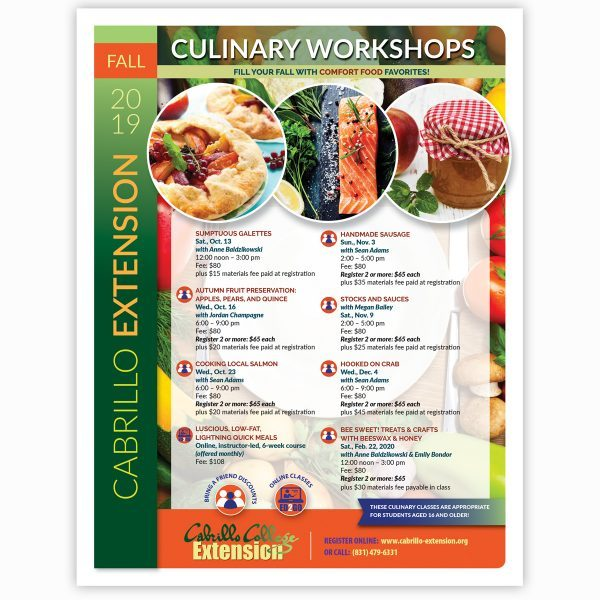 Cabrillo Extension Culinary Classes flyer