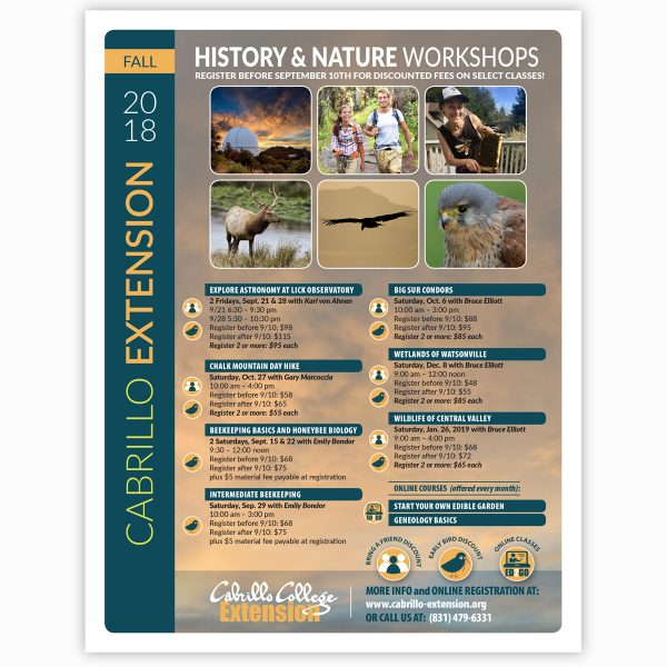 Cabrillo Extension History & Nature classes flyer