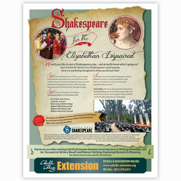 Cabrillo Extension Shakespeare class flyer