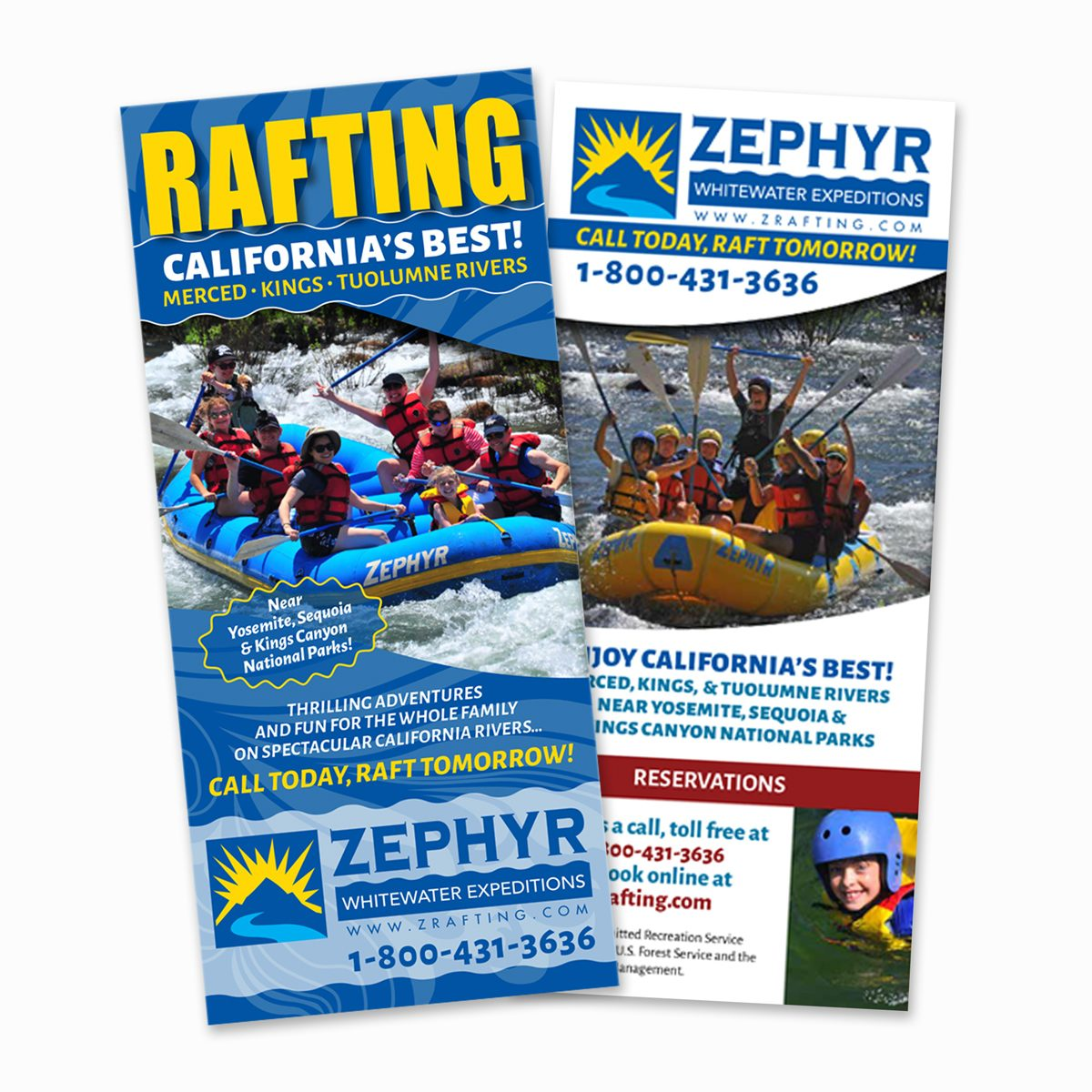 Zephyr Whitewater 5-panel rack card front and back